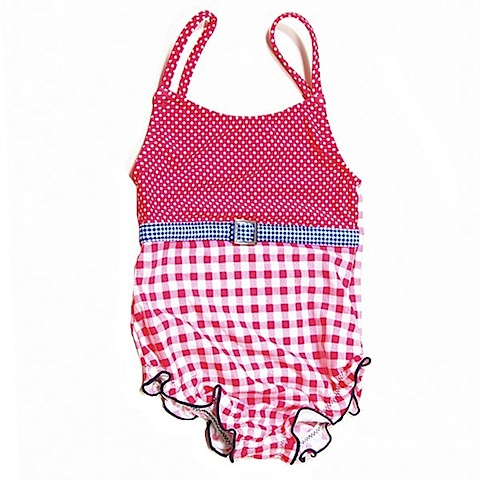checked swimming costume for toddler girl by claesen's