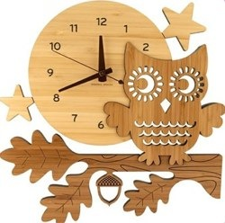Night Owl Bamboo Wall Clock by Graphic Spaces
