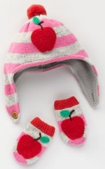 Boden apple Hat & Mittens Set