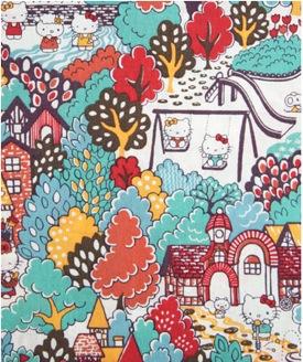 Orange Kitty Town Hello Kitty Print