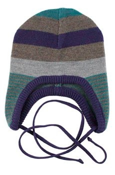 Lille Barn Navy Teal Striped Merino Wool Hat