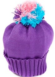 Purple hat with multi-coloured bobble by Snadi