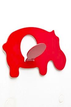 Self-adhesive animal hook - hippo