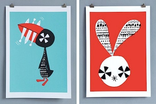Supafrank Creature Collective Puffin and Rabbit prints