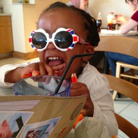 Nia Bambino Goodies wearing Zoobug official Olympic GB sunglasses