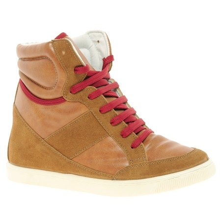 ASOS DENY Wedge High Top Trainers With Suede Detail