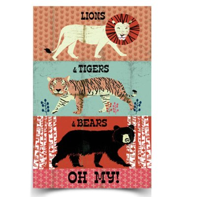 PaperSparrow Lions and Tigers and Bears print
