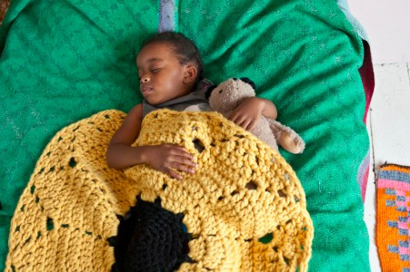 Crochet At Play - Nia with black-eyed susan baby blanket
