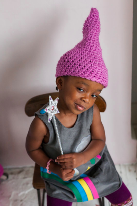 Crochet At Play - Nia in pixie hat and rainbow dress