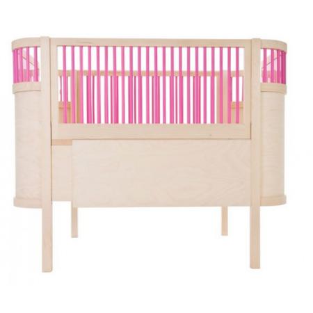 Sebra Kili cot Bed Natural with Pink Bars