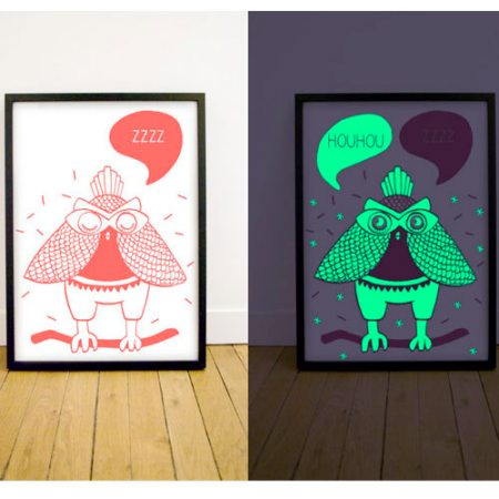 Glow in the dark  fluoro coral owl poster by OMY Design & Play