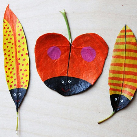 Painted leaf art - featured on Bambino Goodies
