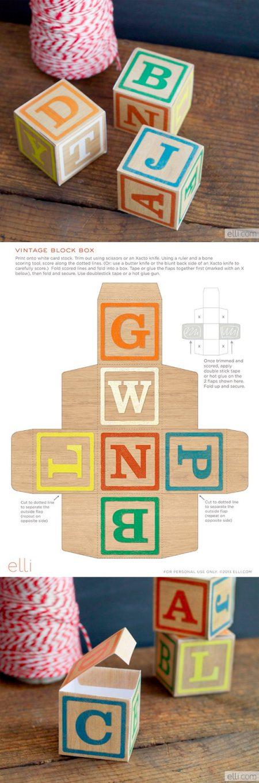 DIY vintage alphabet blocks printable
