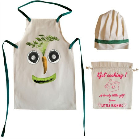 vegetable face childs apron and chefs hat giftset
