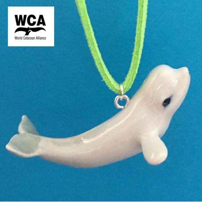 Ceramic Beluga whale pendant necklace