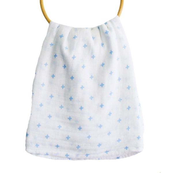swiss cross blue muslin wrap alimrose