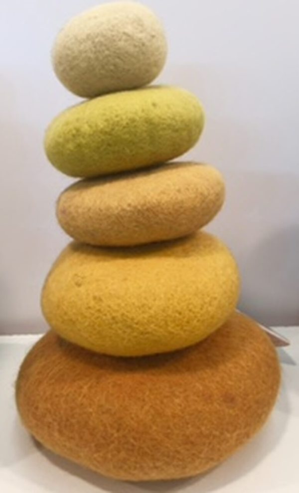 papoose felt yellow stacking pebbles