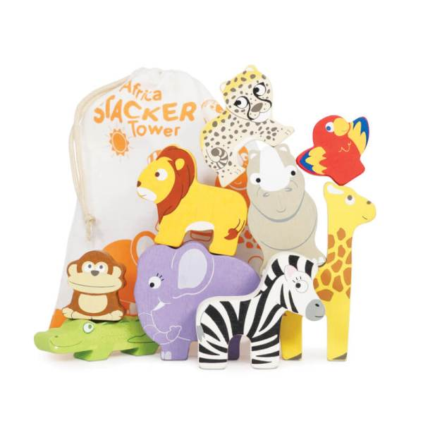 le toy van africa stacking animals with pouch