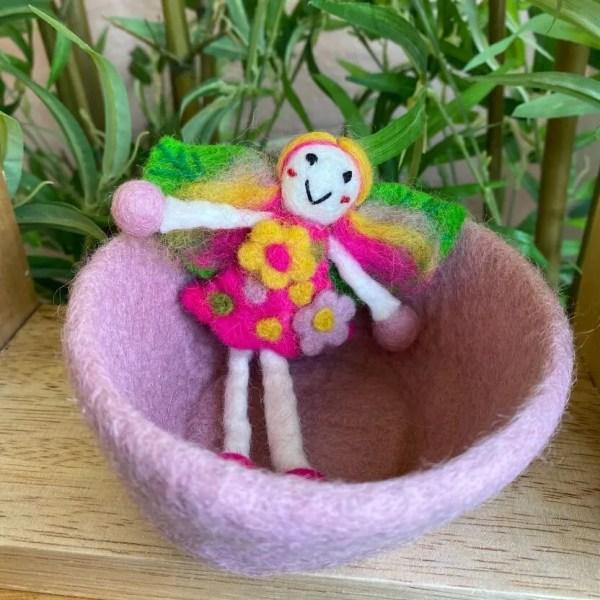 pink wonder fairy in pink felt bowl 1