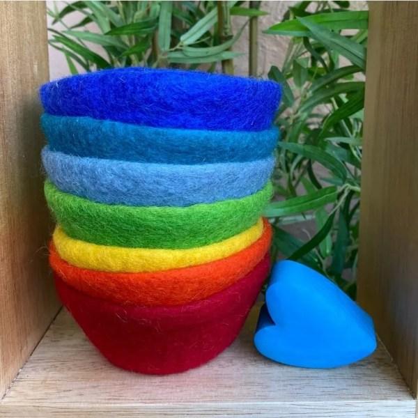 rainbow felt bowls