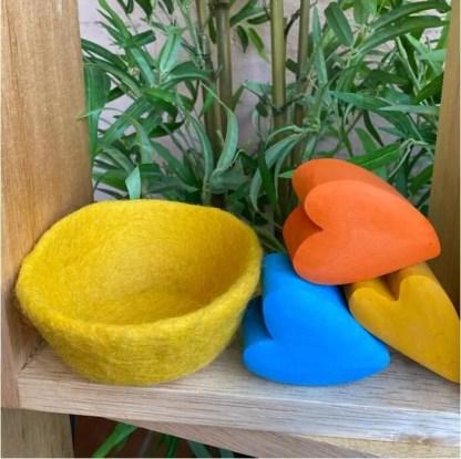 yellow felt bowl