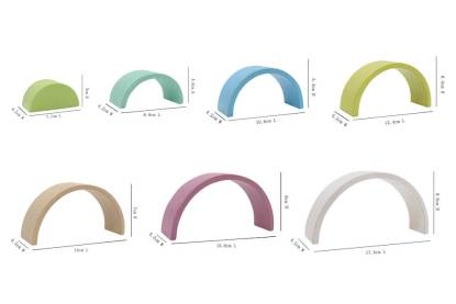 sizes of rainbow stacking arches