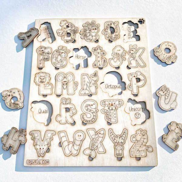 animal abc puzzle wooden