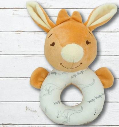 baby kangaroo ring rattle