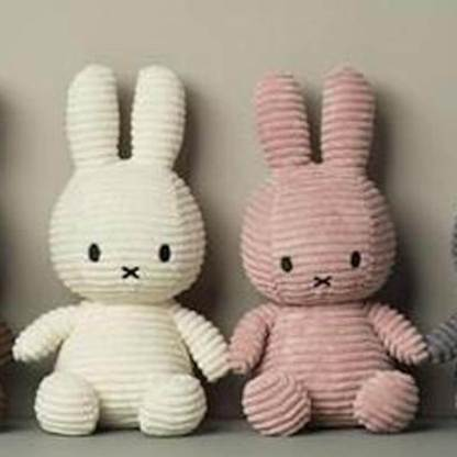 pink and white cord miffy toys 33cm