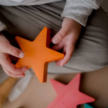 qtoys wooden coloured stars for loose parts play