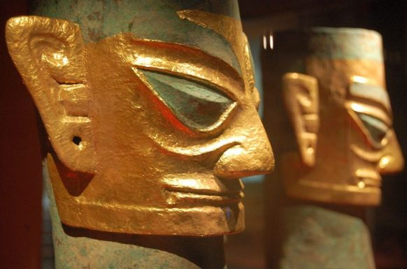 Vergoldete Masken in Sanxingdui, Chengdu
