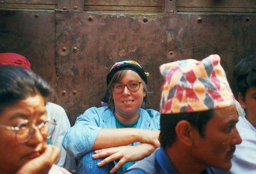 Ulrike am Annapurna im LKW
