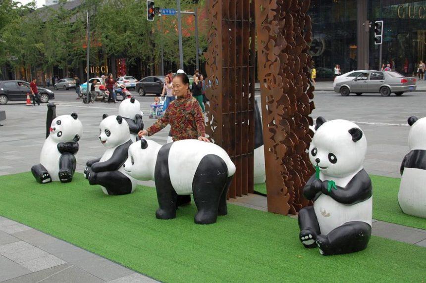 Panda Figuren in Chengdu
