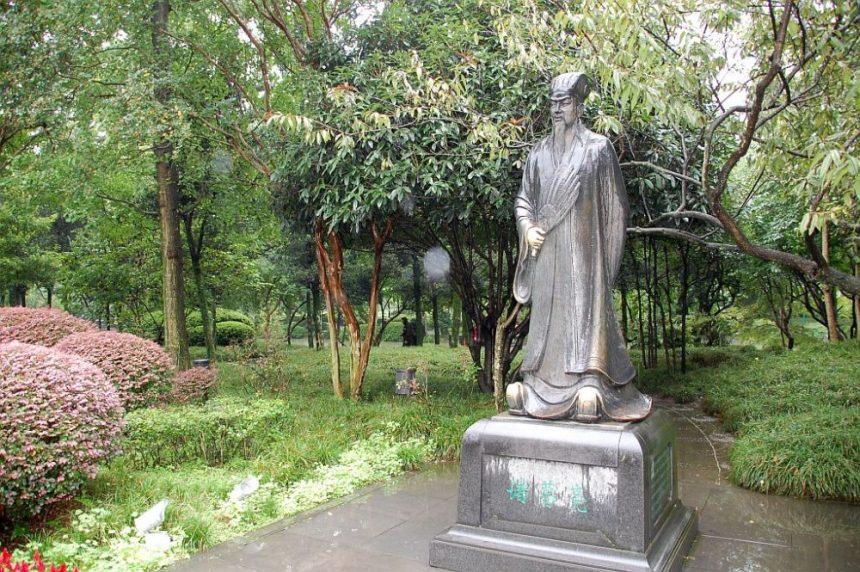 Statue von Zhuge Liang im Park von Dujiangyan
