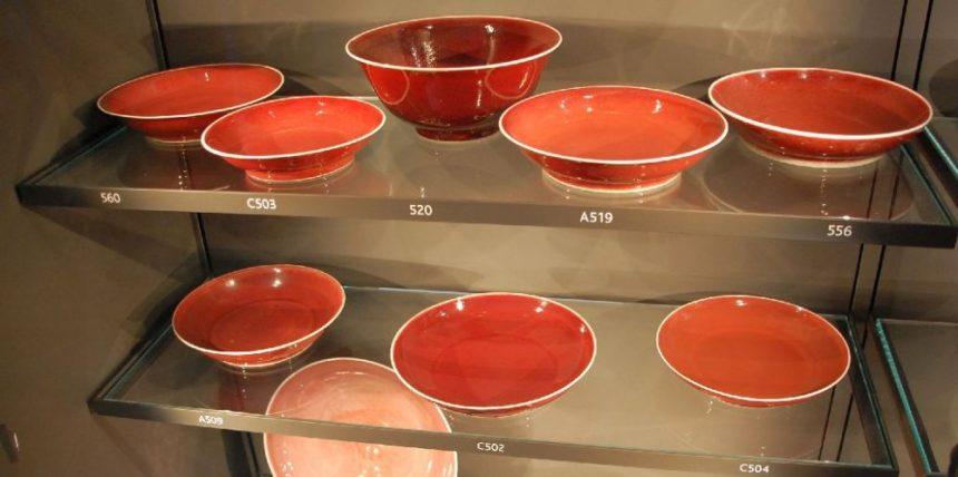 Rotglasiertes Porzellan aus Jingdezhen