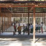 Wand aus Bambusrohren