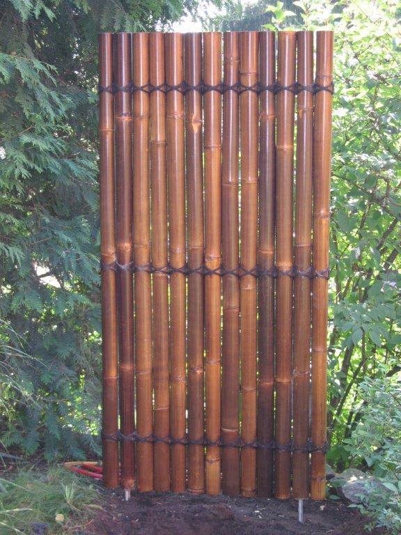 braunes Bambus Sichtschutz Element Bambuswand CONBAM