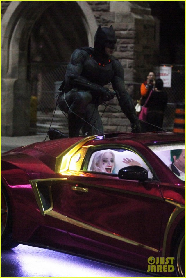 137846, Margot Robbie, Jared Leto and Ben Affleck seen filming on set of Suicide Squad in Toronto. Margot Robbie was in the scenes but the Joker was not Jared Leto but his stunt double and Infiniti G35 car with a Vaydor body kit. Batman jumnt onto the Joker car and rips a hole in the roof. The Batmobile also made an appearance. Toronto, Canada - Wednesday May 27, 2015. CANADA OUT Photograph: © PacificCoastNews. Los Angeles Office: +1 310.822.0419 sales@pacificcoastnews.com FEE MUST BE AGREED PRIOR TO USAGE