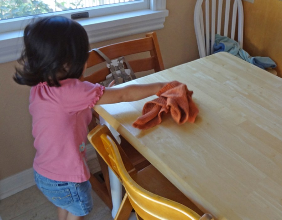 Cleaning the table fun