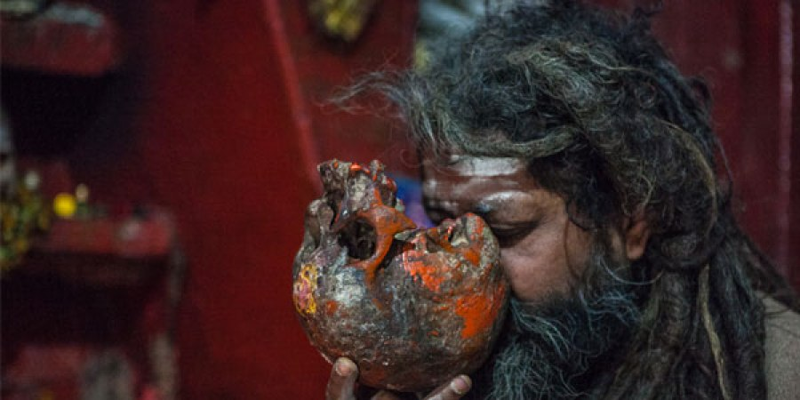 Aghoris eat human flesh and drink human skull