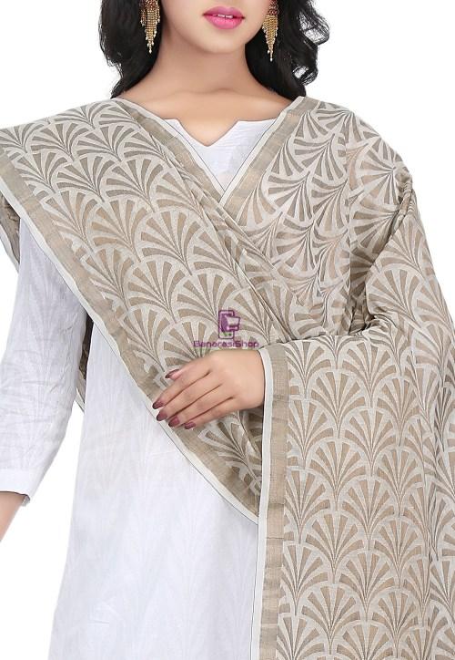Woven Banarasi Cotton Silk Jacquard Dupatta in Off White 4