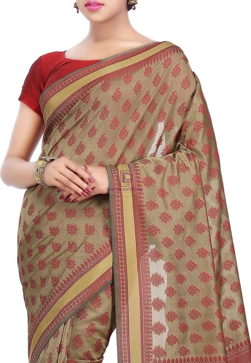 Woven Banarasi Art Silk Saree in Beige 2