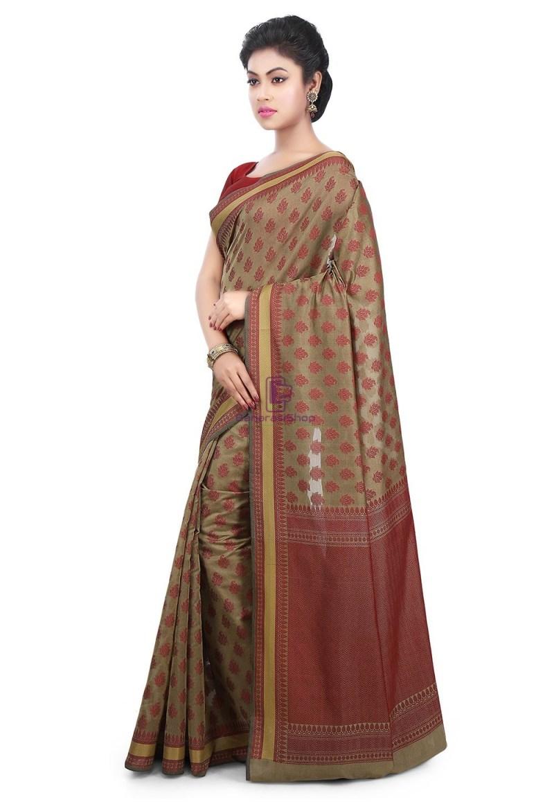 Woven Banarasi Art Silk Saree in Beige 5