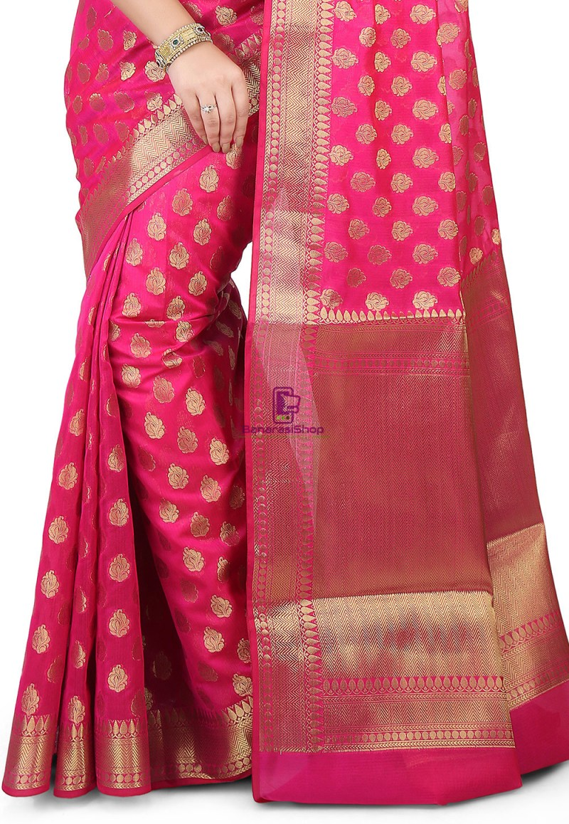 Woven Banarasi Chanderi Silk Saree in Fuchsia 2