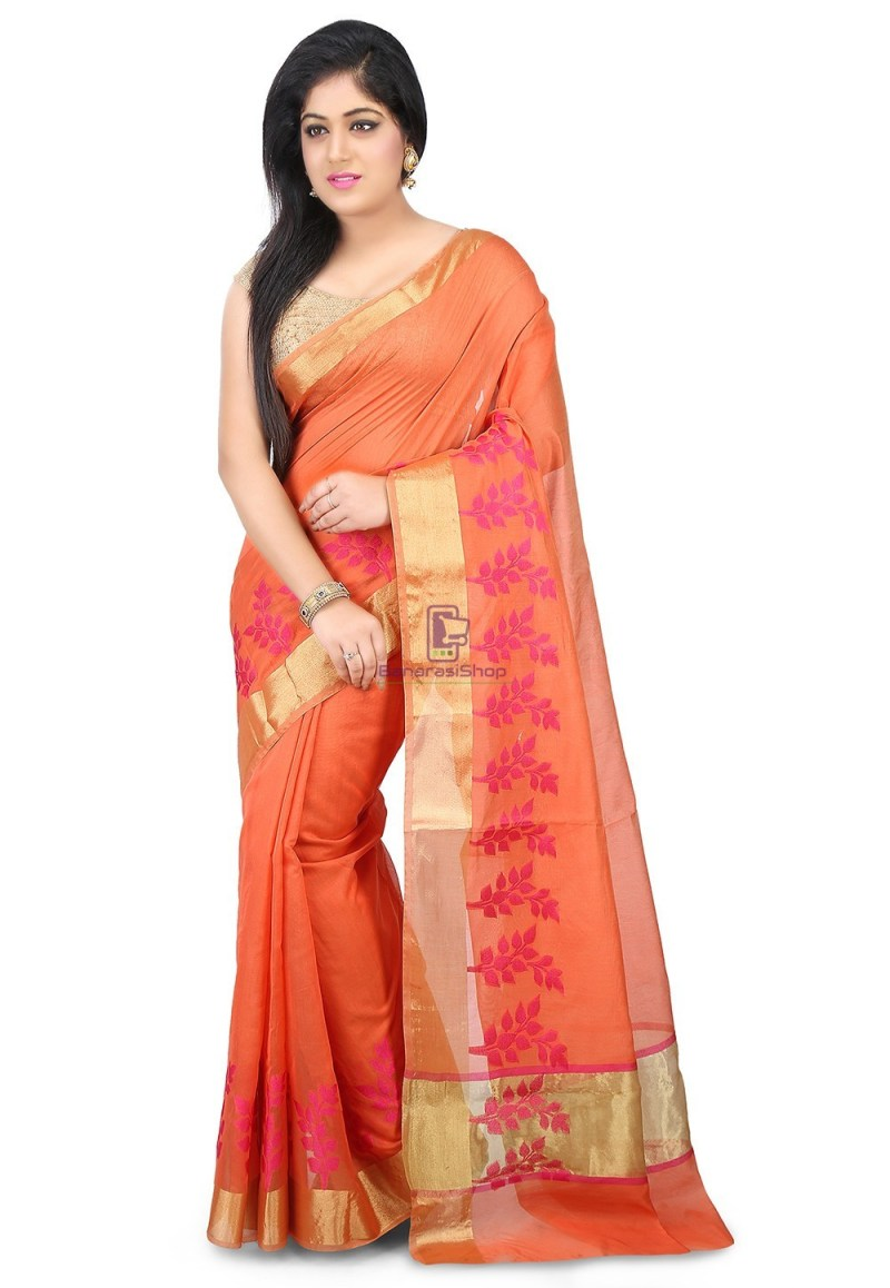 Woven Banarasi Chanderi Silk Saree in Pastel Orange 1