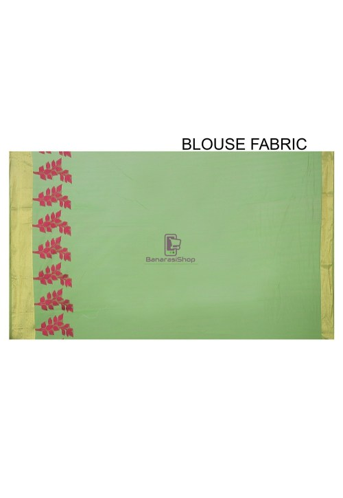 Woven Banarasi Chanderi Silk Saree in Light Green 4