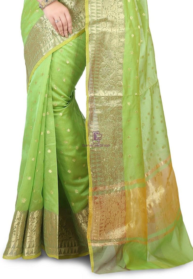 Woven Banarasi Chanderi Silk Saree in Light Green 3