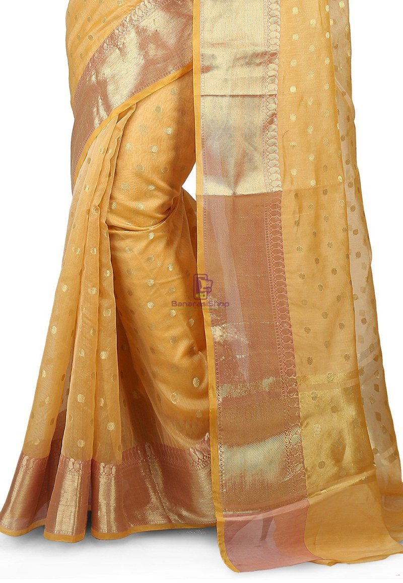 Woven Banarasi Chanderi Silk Saree in Light Yellow 3