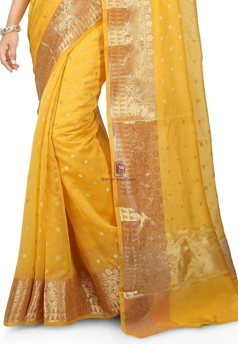 Woven Banarasi Chanderi Silk Saree in Yellow 3