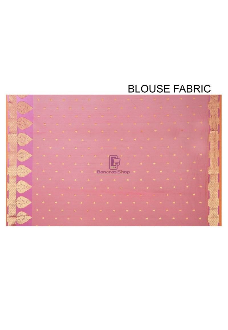 Woven Banarasi Chanderi Silk Saree in Pink 3
